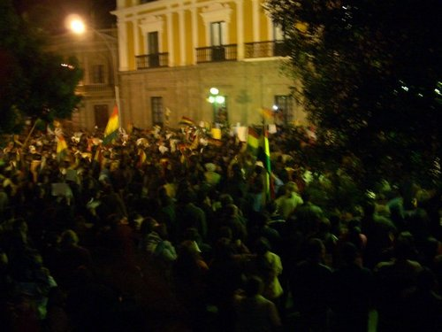 Night protests in the plaza
